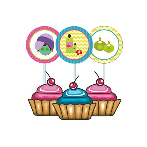 Spa Party. Spa Party Birthday Decorations for Girls. Spa Day. Includes Party Hats, Centerpieces, Bunting Banner, Danglers and Cupcake Toppers. by W&N Distribution (Image #3)