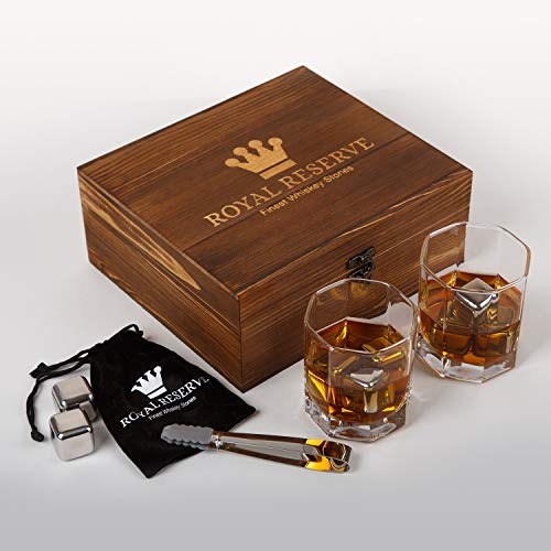 (Whiskey Stones Gift Set by Royal Reserve | Men's Birthday Gifts Artisan Crafted Stainless Steel Chilling Rocks Scotch Bourbon Glasses – Gift for Men Dad Husband Boyfriend Anniversary or Retirement)