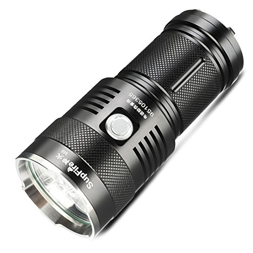 2300 Flashlight - Supfire Tactical Flashlight Water-proof Torch Super Bright 2300 Lumens Cree LED With 4 18650 Batteries and Charger Included,5 Modes For Camping Hiking Cycling etc,Model M6