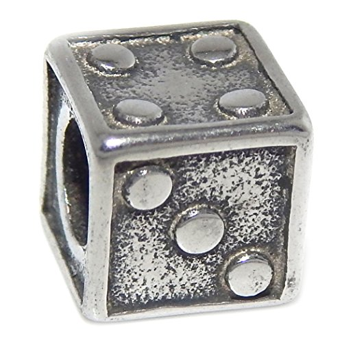 GemStorm Stainless Steel Dice Charm Bead Fits Pandora Bracelet For European Snake Chain Bracelets