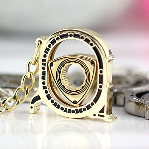 Parts Auto Engine - Maycom New HOT Spinning Rotor Keychain Creative Car Fans Favorite Auto Parts Model Golden Engine Rotary Keyring Key Ring Chain Keychain Keyfob 86122-1