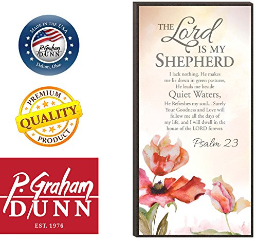 The Lord is My Shepherd Psalm 23 Inspirational Wooden Decorative Wall Art Plaque with Easel Back by P Graham Dunn (Image #2)