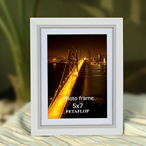 PETAFLOP 5x7 Picture Frame Set Hold 5 by 7 inch White Photo Frames, Set of 8 Pieces by PETAFLOP (Image #1)