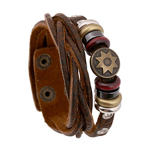 Bracelet Of Sun Flower Wrap Leather Multi Braided Button Adjustable (Homemade Firefighter Costume)