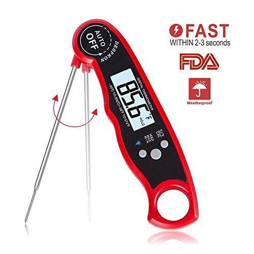 Meat Thermometer - Waterproof Instant Read Thermometer Backlit Light BBQ Thermometer Cooking Thermometer with Collapsible Internal Probe for Grill Cooking Meat Kitchen Candy (Red) (Tech Probe)