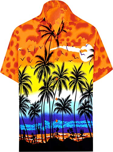 LA LEELA Beach Shirt Short Sleeve Hawaiian Mens Shirt Men Orange_W138 Large
