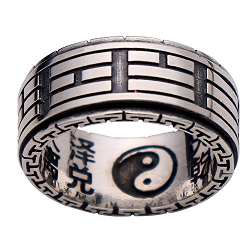 Vintage 925 Sterling Silver Taoism Tai Chi Yin Yang Spinner Ring Band for Men Women Size 11