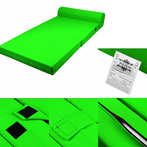 MaGshionSleeper Chair Folding Foam Bed Sized Single Size, Twin Size or Full Size (Single (5x23x70), Lime)