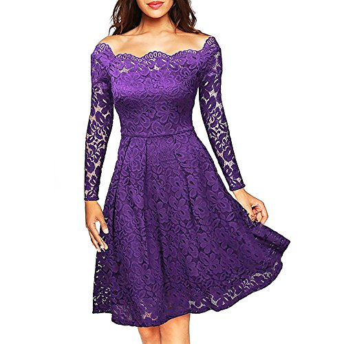 NALATI Mujeres Vintage floral de encaje fuera del hombro de manga larga Cocktail Party Swing Dress púrpura