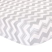 Grey Zig Zag Print Fitted Crib Sheet - 100% Cotton Baby Boy and Girl Geometric Chevron Nursery and Toddler Bedding