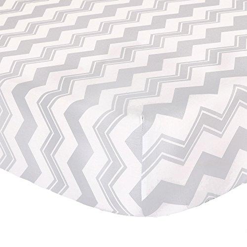 Contemporary Nursery Bedding - Grey Zig Zag Print Fitted Crib Sheet - 100% Cotton Baby Boy and Girl Geometric Chevron Nursery and Toddler Bedding