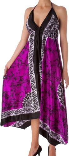 Sakkas 108 Veins Print Satin V-Neck Halter Handkerchief Hem Dress - Violet - One Size ()