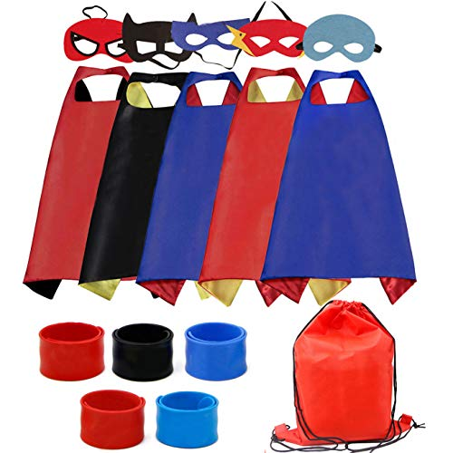 Dress up Costume Cape and Mask Set with Drawstring Backpack and Matching Shaped Rubber Wristbands for Kids, Birthday Party Children (5pcs for Boys)