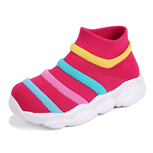 KRIMUS Toddler Baby Sneaker for Girls Boy Ankle high top Flyknit Sock Athletic Running Walking Casual First Walkers Shoes Pink - High Top Sneaker Socks