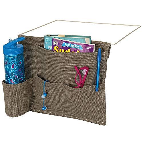 mDesign Bedside Storage Organizer Caddy Pocket - Slim Space Saving Design, 4 Pockets - Heavy Cotton Canvas - Holds Water Bottles, Books, Magazines - Espresso Brown/Wire Insert in Satin