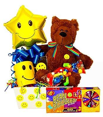 Smiley Face Gift Basket - Stuffed Bear with BeanBoozeled Spinner, Mug & Balloon
