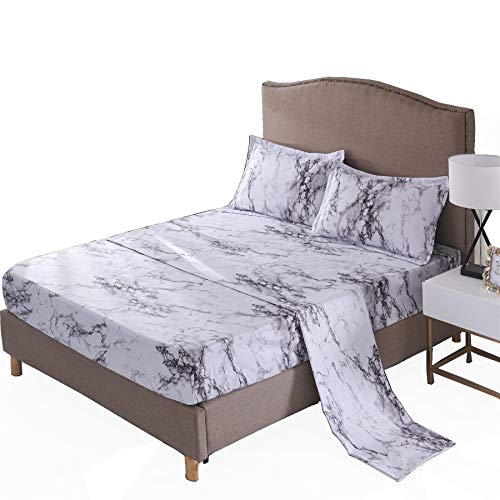 A Nice Night Mable Design Printing Bed Sheet Bedding Set, 100% Soft Microfiber Fitted Sheet (Queen, Light-Grey)