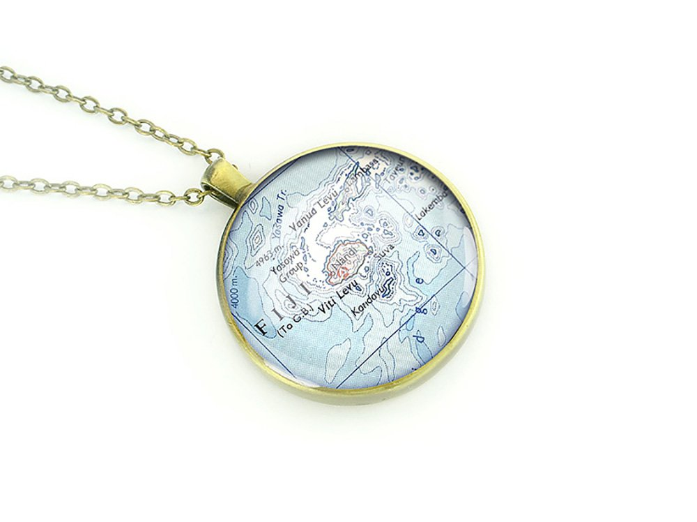 1951 vintage Fiji map necklace handmade by map pendant gift for mother sister friend