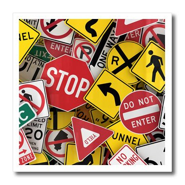 3dRose ht_155154_2 American Road Sign Signs Collage Street Stop Yield Usa Iron on Heat Transfer, 6 by 6-Inch, For White Material (Photo Stop Sign)