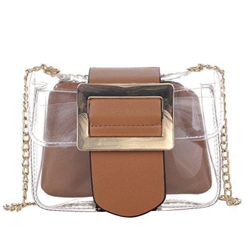 Women's PVC Transparent Clear Handbags Solid Cross-Body Messenger Shoulder Bag