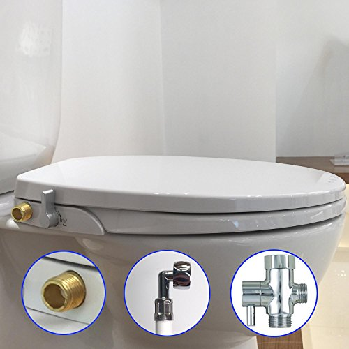 Hibbent Non Electric Toilet Bidet Seat - American Round Toilet Seats - No Electricity Bathroom Bidets Dual Nozzles Sprayer for Bidets and Rear Washing(Fitted 16.5-18 inch Round/Standard Bowl)-OB108