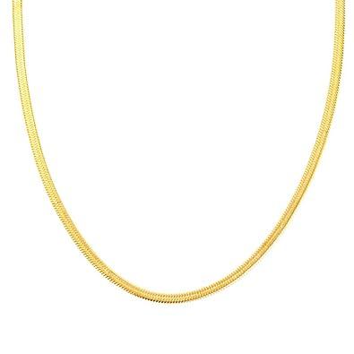 dcccc70445c9c Amazon.com: STai 18K Gold Plated Italian Solid 4MM Flat Herringbone ...