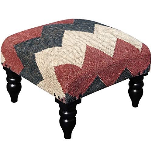 Handmade Tribal Kilim Upholstered Footstool (India) Red Chevron Bohemian Eclectic Rustic Transitional Pattern Rectangle Fabric Wood Finish (Furniture Upholstered Kilim)
