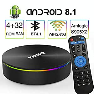 Android 8.1 TV Box,EASYTONE T95Q Android TV Box Quad-Core S905X2 64bit 4GB RAM 32GB ROM Support 5G WiFi/H.265/ BT4.1/ USB 3.0/ 1000M LAN/ 4K Ultra HD [2019 Newest]