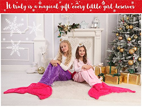 Mermaid Tail Blanket – Super Soft and Warm Polar Fleece Fabric Blanket by Cuddly Blankets. Perfect for Kids and Teens (Ages 3-12) (Dark Purple and Hot Pink)