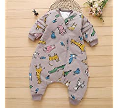 Unisex Baby Warm Wearable Blanket Toddler Sleeping Bag With Legs 3 Season For 1 4 Years Cartoon Animal Pattern Removable Sleeve Combed Cotton Baby Quilt Gray M Buy Online At Best Price In
