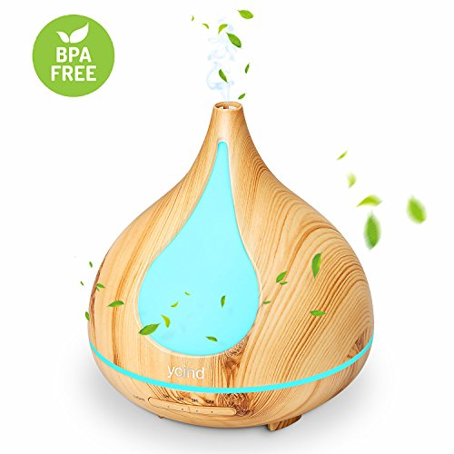 Ycind Essential Oil Diffuser Aromatherapy Diffuser Single Room Humidifier 4 Timer Settings 7 Color Changing LED Light Waterless Auto Shut-off for Home Office Yoga SPA Room, 300ml, Wood Grain