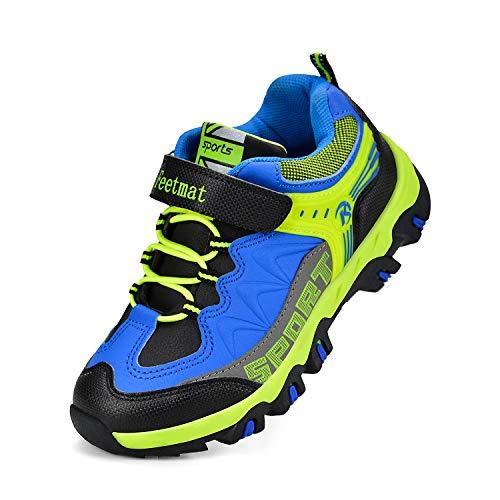 ZOCAVIA Boys Shoes Athletic Hiking Walking Sneakers Kids Black Blue Size 9.5 M US ()