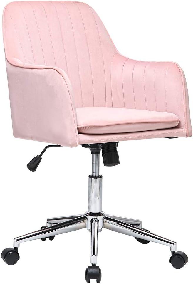 Adjustable Round Office Chair Velvet Makeup Chairs Modern Home Desk Armrest Chair Metal Base and Back Cushion Ergonomic Design Pink