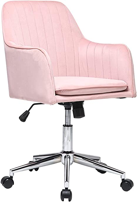 Amazon Com Adjustable Round Office Chair Velvet Makeup Chairs Modern Home Desk Armrest Chair Metal Base And Back Cushion Ergonomic Design Pink Kitchen Dining