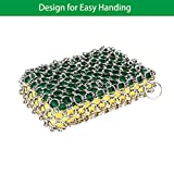 Cast Iron Cleaner, Stainless Steel Chainmail Scrubber for Cast Iron Pans, Cookware, Counters Grill Scraper, Oil-Free, Easy Handing, No Soap Required Cast Iron Skillet Cleaner for Home and Camping