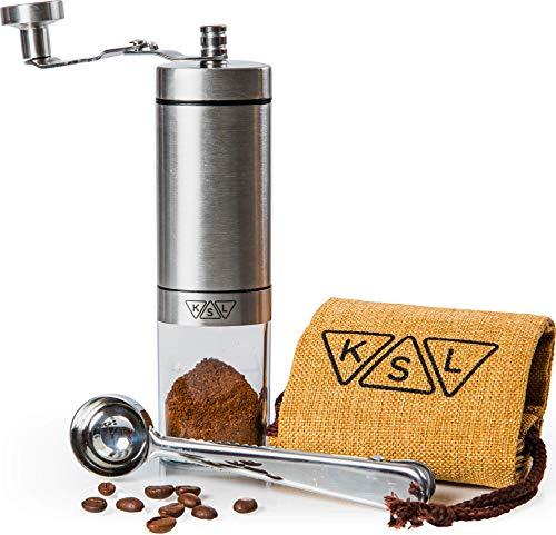 KSL Manual Coffee Grinder – Ceramic Burr – Portable Hand Steel French Press for Espresso, Turkish – Adjustable Settings…