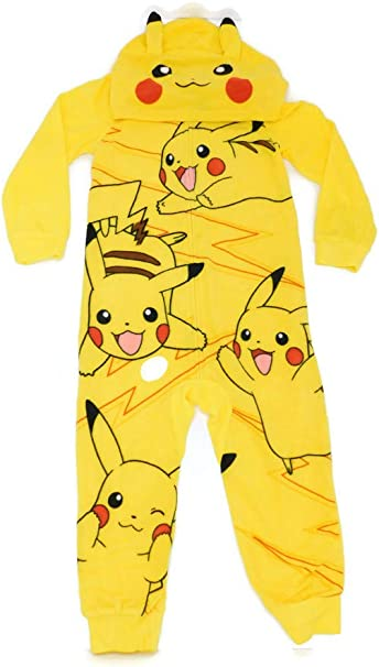 AME Sleepwear Boys Pikachu Hooded Union Suit Pajama Onesie,Yellow,Large 10/12