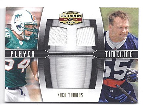 ZACH THOMAS 2008 Donruss Gridiron Gear Player Timeline #12 Combos Dual GAME-WORN JERSEY Parallel Card Numbered to only 100 made! Miami Dolphins Dallas Cowboys - Gear Gridiron 2008