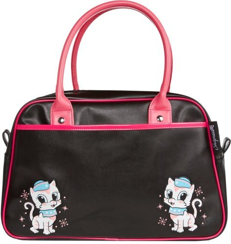 Black & Pink Retro Kitten Bowler Purse from Sourpuss (Perfect Bowler Purse)
