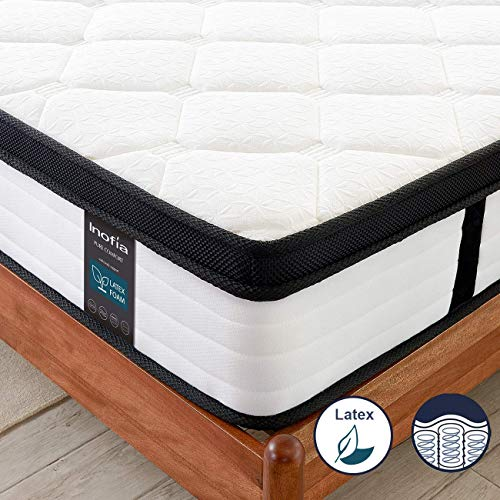 Inofia Double Mattresses 4FT6 Latex Memory Foam Mattress with Pocket Sprung,27cm LATEXCH Bi-density Technology for…
