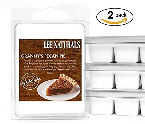 Lee Naturals Fall - (2 Pack) GRANNY'S PECAN PIE Premium All Natural 6-Piece Soy Wax Melts. Hand Poured Naturally Strong Scented Soy Wax Cubes (Scented Soy Wax Melts Tarts)