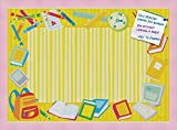 PinPix decorative pin cork bulletin board made from high quality canvas, Yellow School Supplies Board printed at 24x34 Inches and framed in Baby Pink Stain on Beech (PinPix-33)