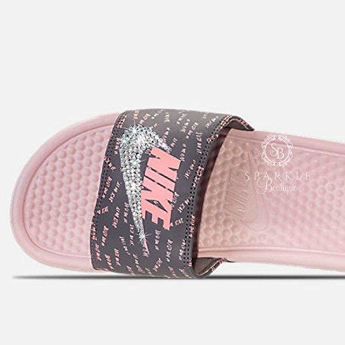 757c5319f65 Swarovski Nike Slides - Rose Color NIKE Benassi JDI Slides with Crystals  Custom Nike Bedazzled Slip On Sandal Shoes - Buy Online in Oman.