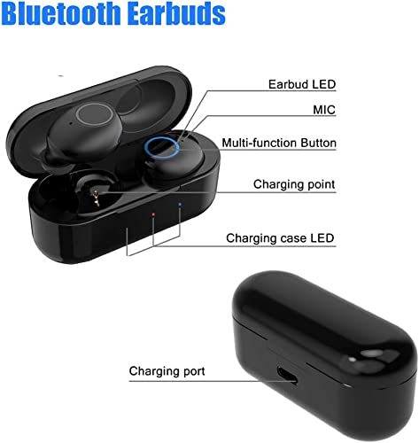 Bluetooth 5.0 TWS Wireless Earbuds in-Ear Sport Friendly Design Earbuds with Wireless Charging Case Auto Pairing Dual Earbuds with Built-in Mic Deep Bass 3D Stereo and Multi-Function Button Control
