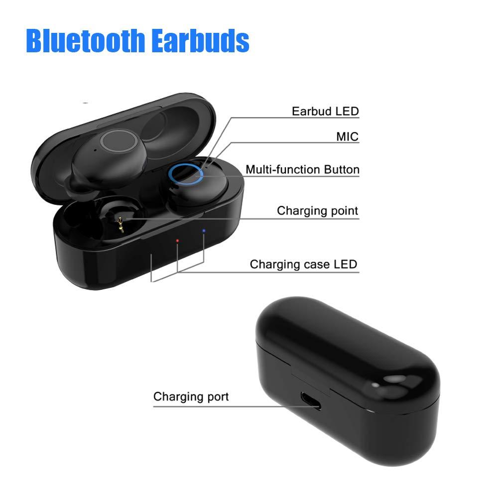 Bluetooth Earbuds Wireless Earphone Bluetooth 5.0 Headset Deep Bass 3D Stereo in-Ear Design Wireless Headphones Bluetooth Dual Earbuds with Built-in Mic Wireless Charging Case
