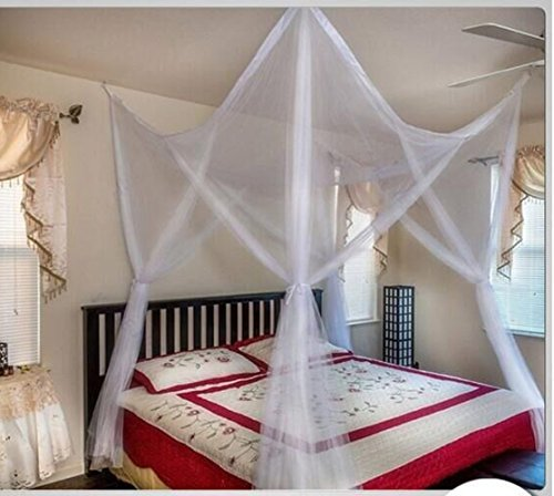 (RuiHome 4 Poster Bed Canopy White Mosquito Netting Covers Baby Kids Adults Bed Twin Full Queen Bedroom Nursery Decor Anti-Insect)