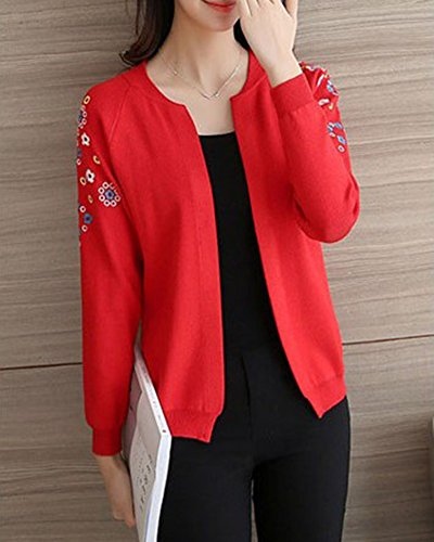 Cardigan cardigan Short flowers Embroidered lavorato Rosso jacket lunghe maniche Donne SnCH4wq6w