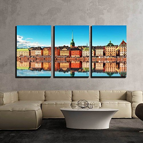 Scenic Summer Panorama of the Old Town (Gamla Stan) Pier Architecture in Stockholm Sweden x3 Panels