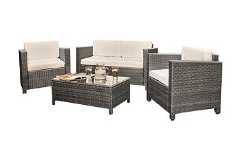 cbd15e0dc1fc Comfy Living Rattan 4 seat Wicker Weave Garden Furniture Conservatory Sofa  Set in Grey