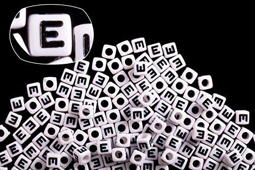 (Letter E white acrylic cube alphabet beads 7mm 50G/209PCS)
